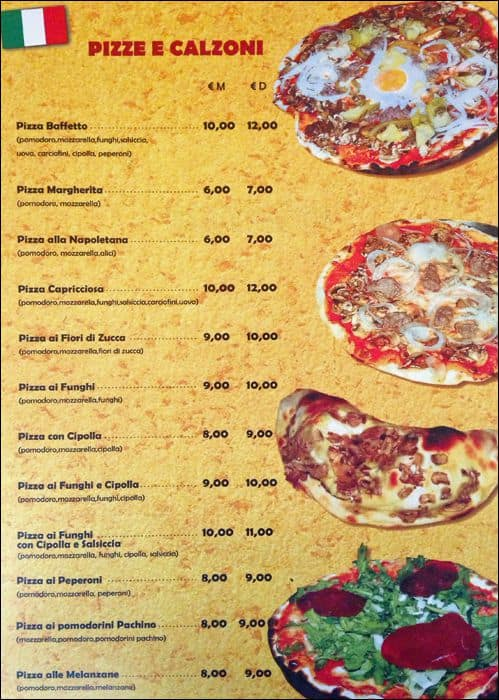 Baffetto, Navona - Pantheon menu