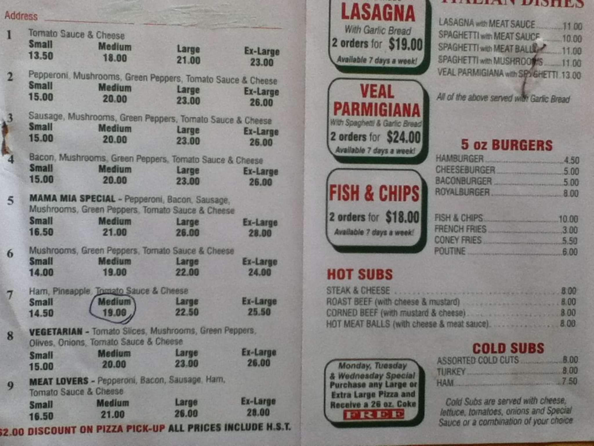 Mama mia pizzeria coupons