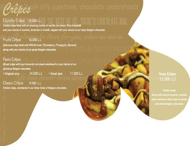 Chocolate bar menu menu for chocolate bar hamra beirut for The food bar zomato