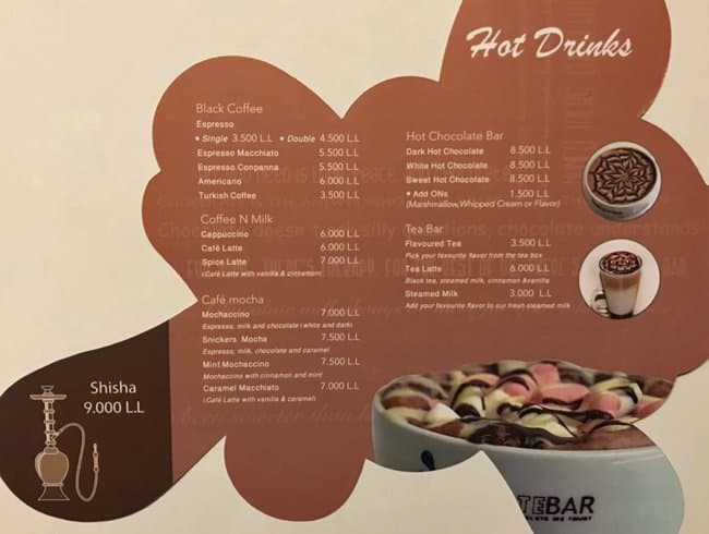 Chocolate Bar Menu, Menu for Chocolate Bar, Chiyah, Baabda
