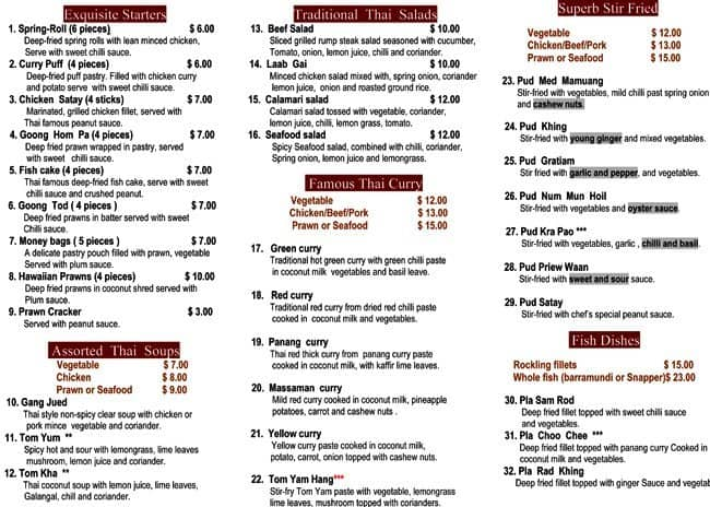 Vics Thai Food Menu