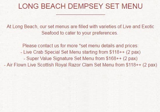 Long Beach Dempsey Tanglin Menu