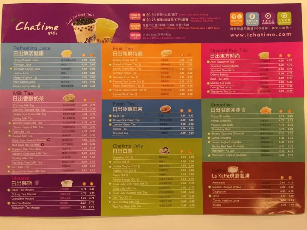 Chatime Menu, Menu for Chatime, Chinatown, Calgary
