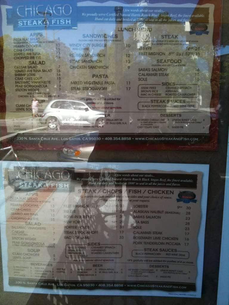 Chicago steak and fish menu menu for chicago steak and for Two fish menu