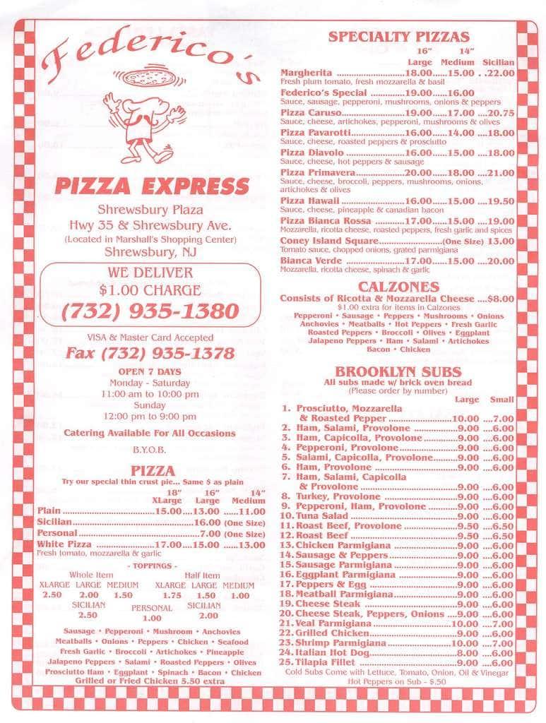 Federicos Pizza Express Menu Menu For Federicos Pizza