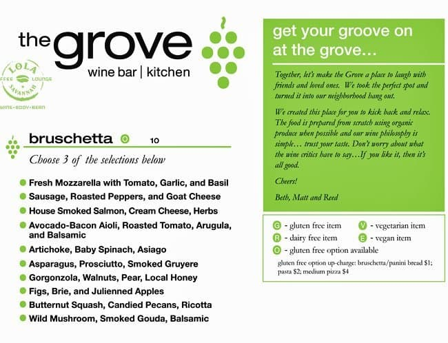 The grove wine bar kitchen menu urbanspoon zomato for W kitchen verbier menu