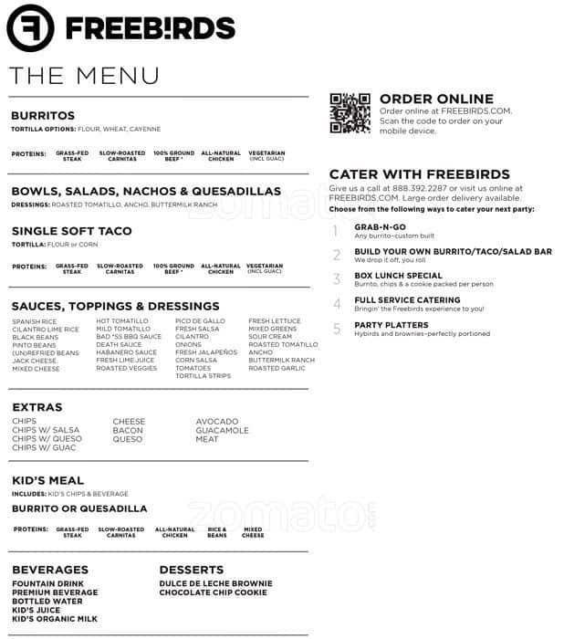 Freebirds Restaurant Menu