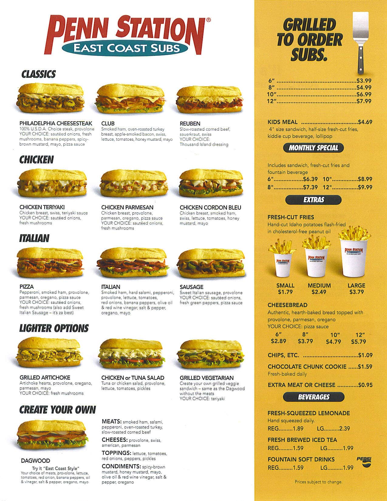 picture about Penn Station Printable Menu called Penn Station East Coastline Subs, East, Indianapolis