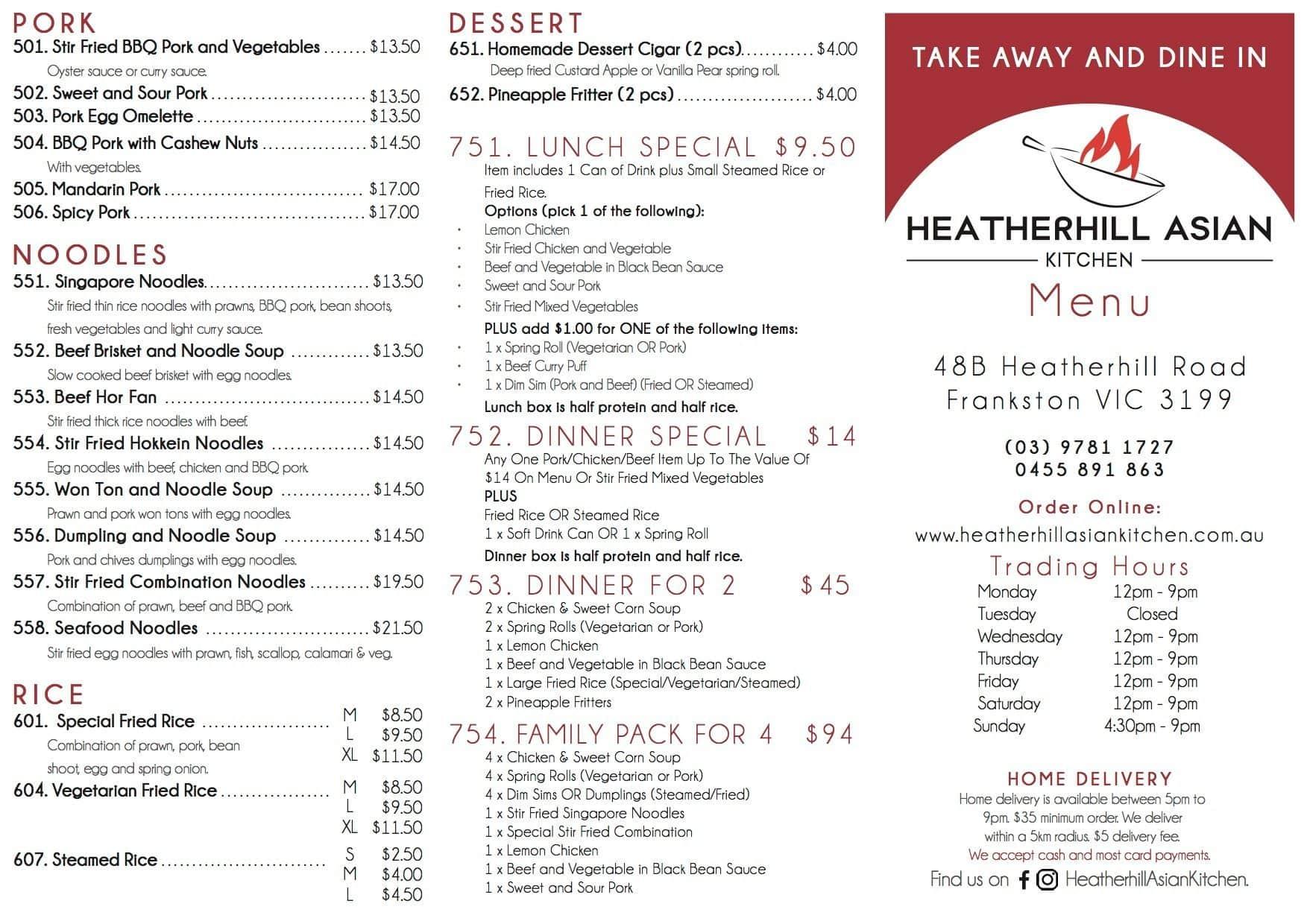 Heatherhill asian kitchen frankston menu