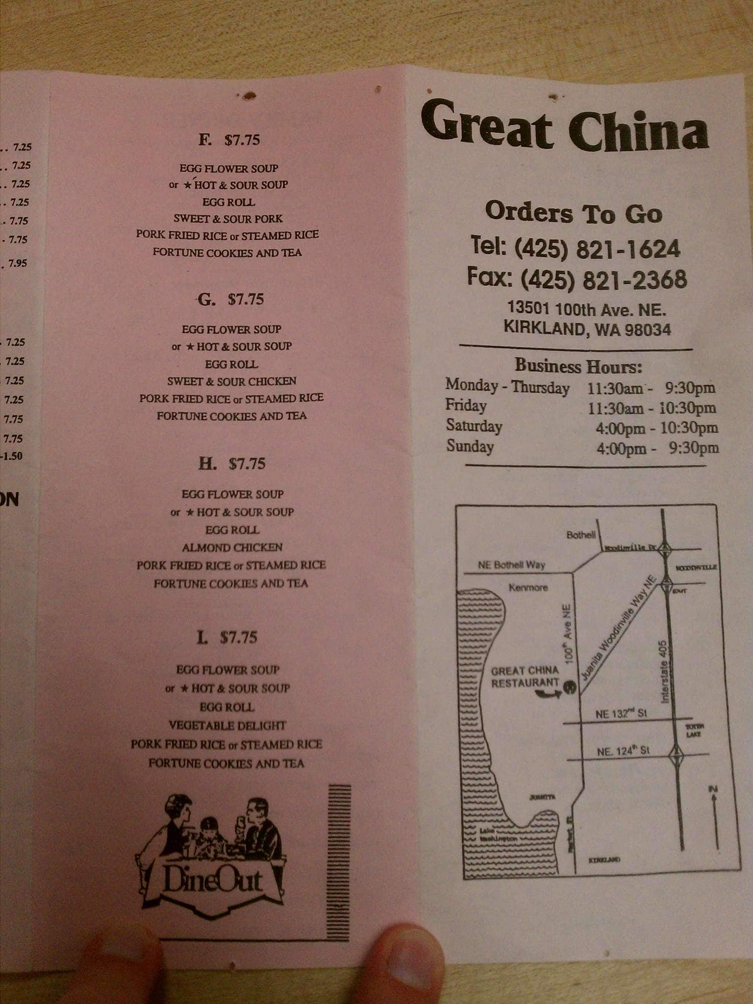 Great China Restaurant Kirkland Menu