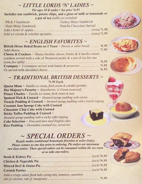 Royals English Tea Room Menu Menu For Royals English Tea