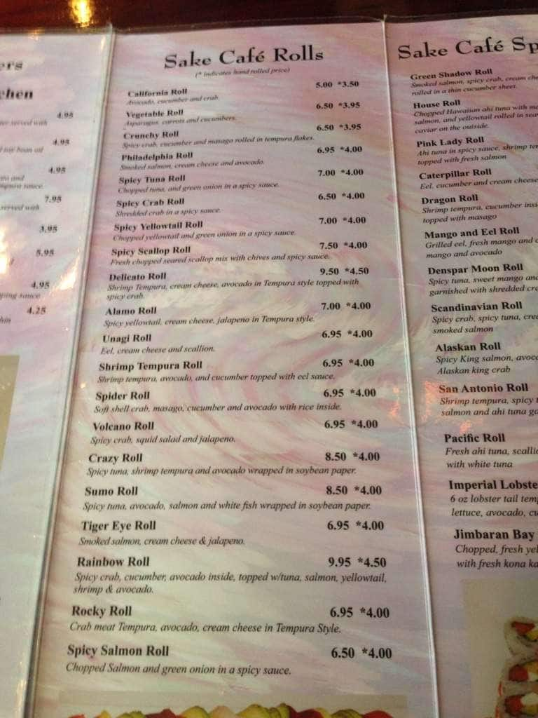 Sake Cafe Prices