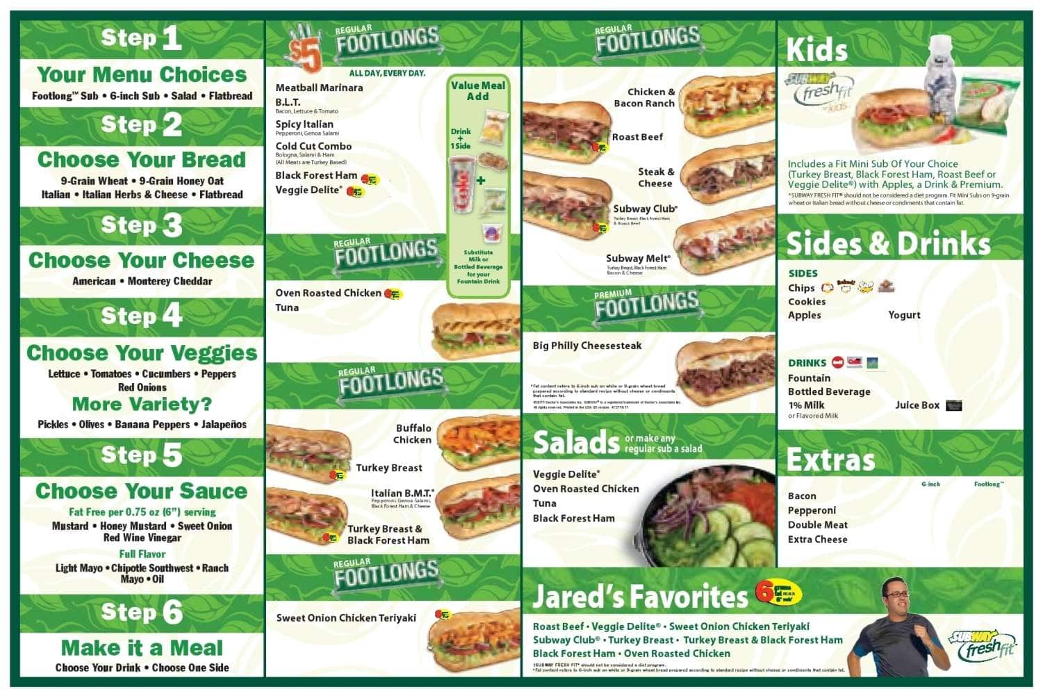 Subway Menu, Menu for Subway, Palm Beach Gardens, Miami - Urbanspoon ...