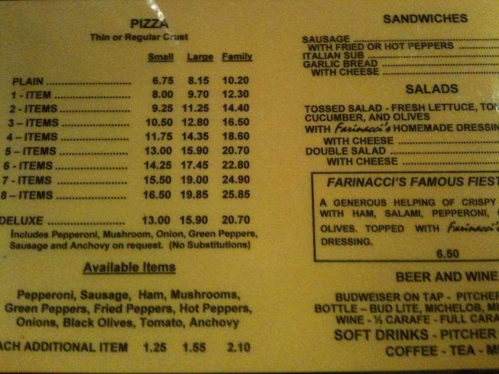 Farinacci Pizza Menu, Menu for Farinacci Pizza, Northfield/Macedonia ...