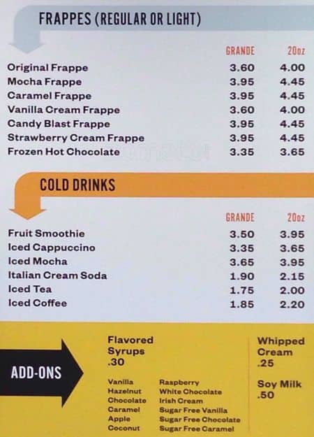 Joe Muggs Coffee Gastonia Menu