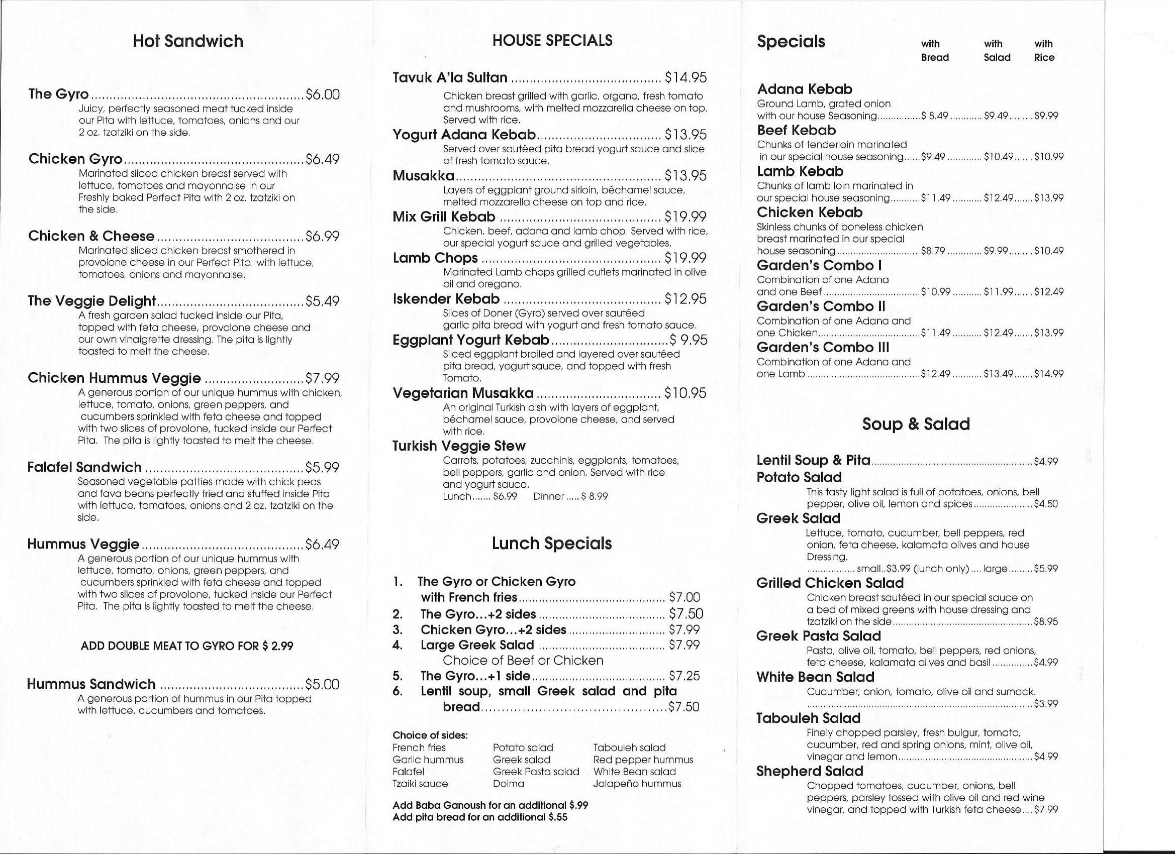 Mediterranean garden menu menu for mediterranean garden for Mediterranean restaurant menu