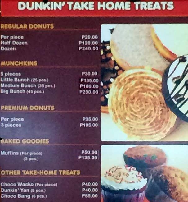 Dunkin Donuts Menu, Menu For Dunkin Donuts, Masinag, Rizal