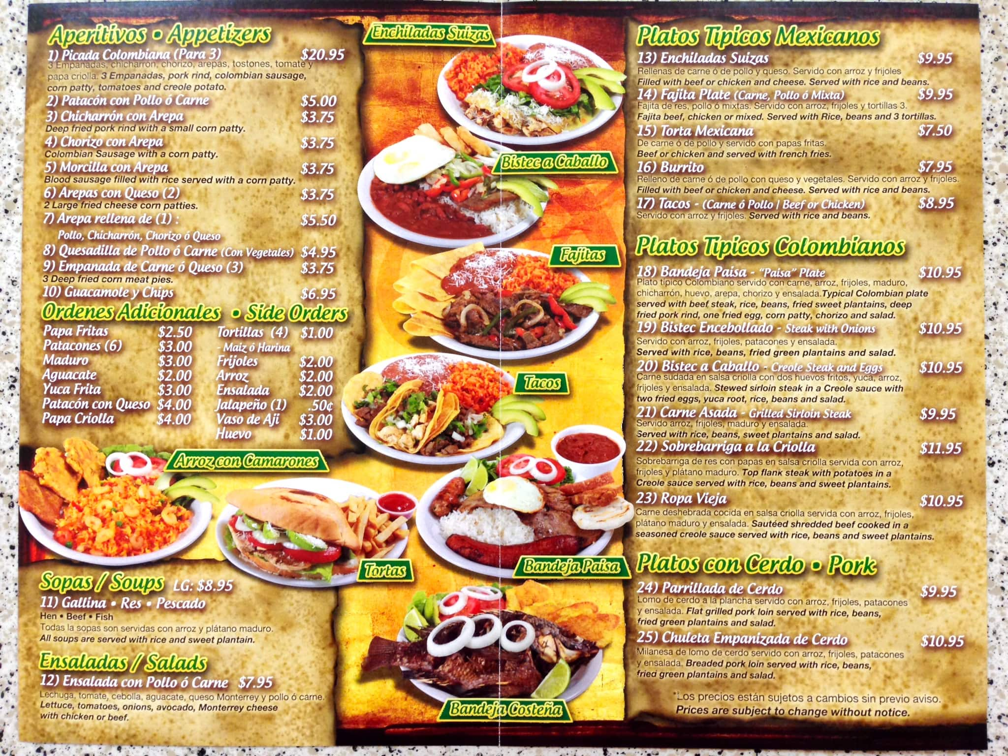 Mexican food menu for Cuisine restaurant