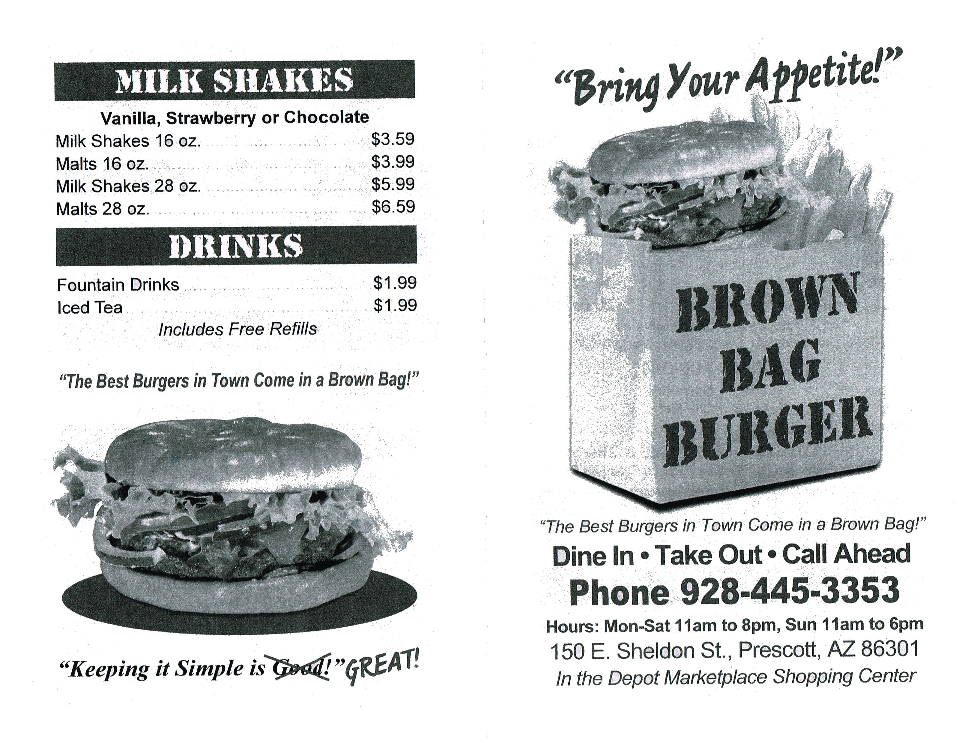 Brown Bag Burger Menu