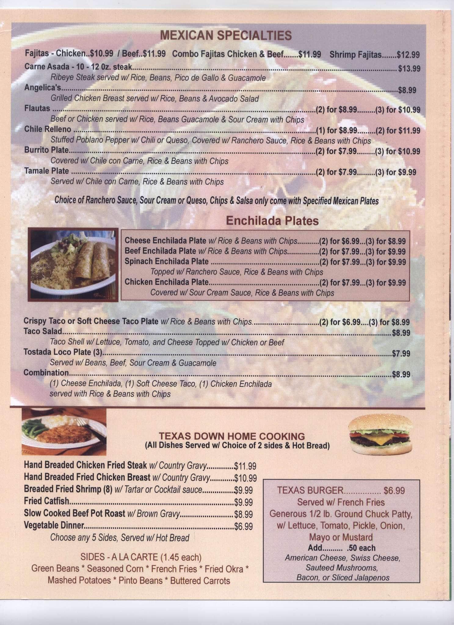 menu at benny joe's restaurant, alvarado