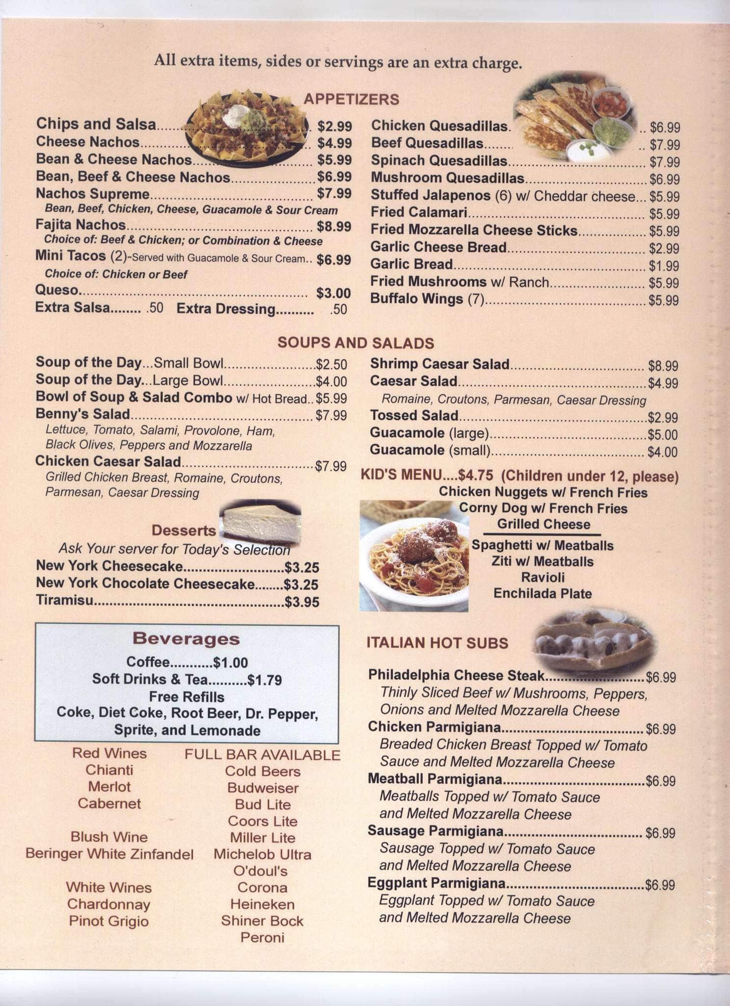 benny joe's menu, menu for benny joe's, alvarado, alvarado