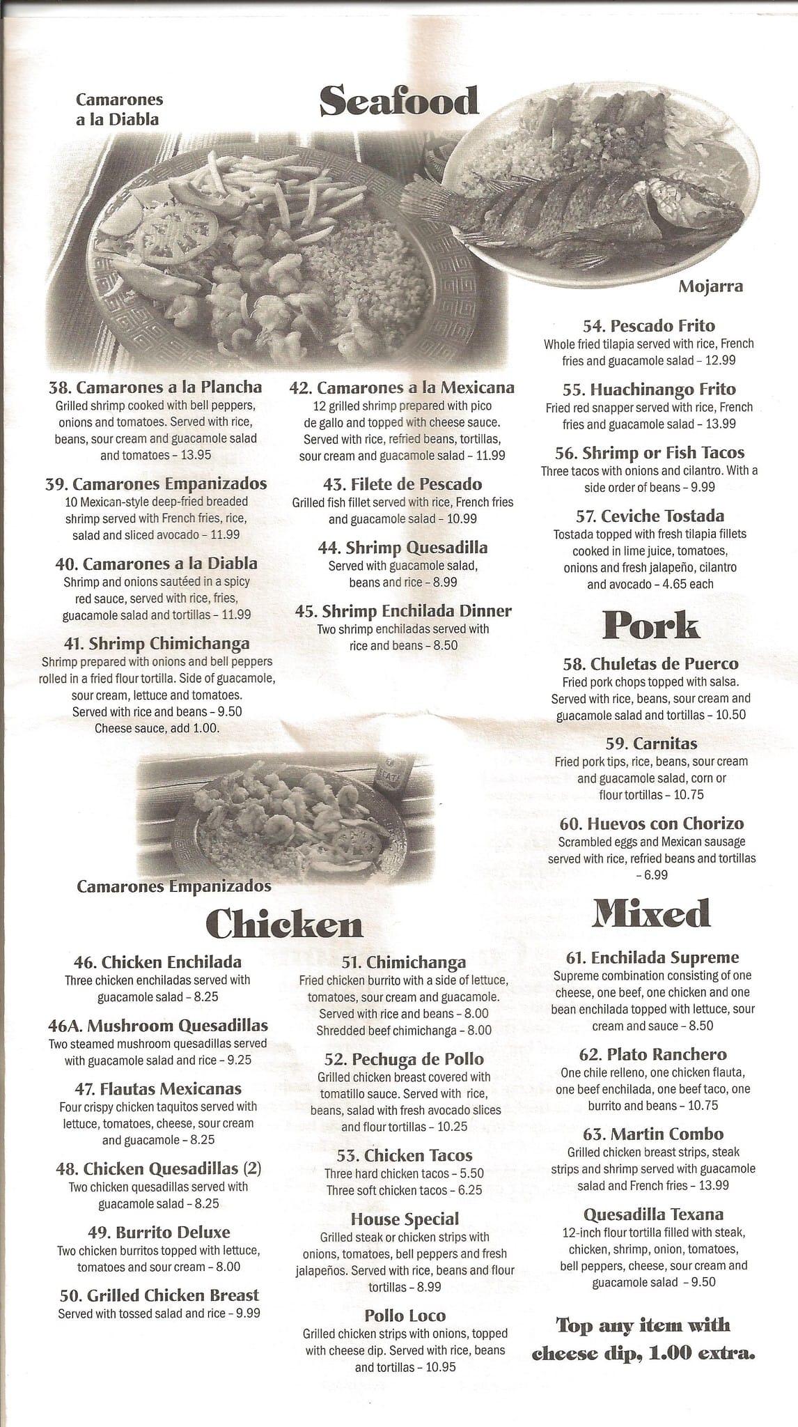 El Saltillo Mexican Restaurant Menu