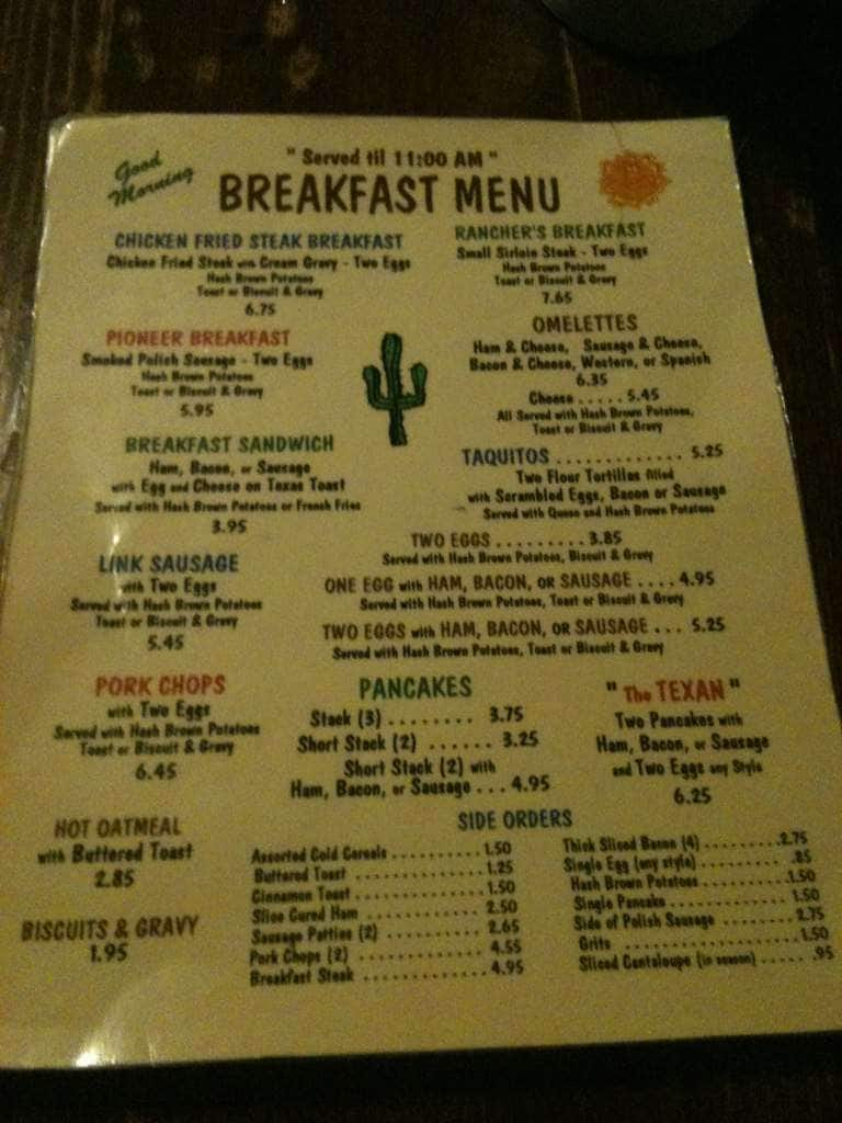 Pioneer Restaurant Wichita Falls Menu