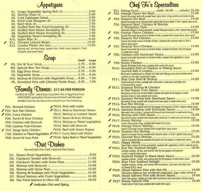 fus garden menu - Fu Garden
