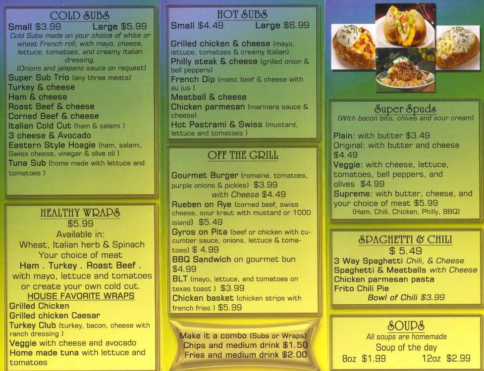 Bill ruth 39 s subs menu urbanspoon zomato for Asian cuisine tulsa menu