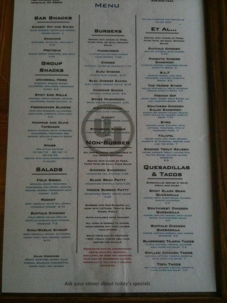 Universal Joint Menu >> Universal Joint Menu Menu For Universal Joint West