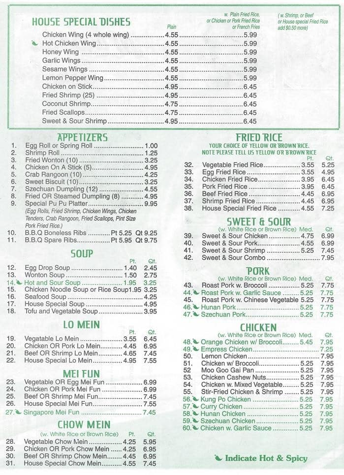 Menu At Mandarin Kitchen Restaurant, Mobile, S University Blvd Suite G