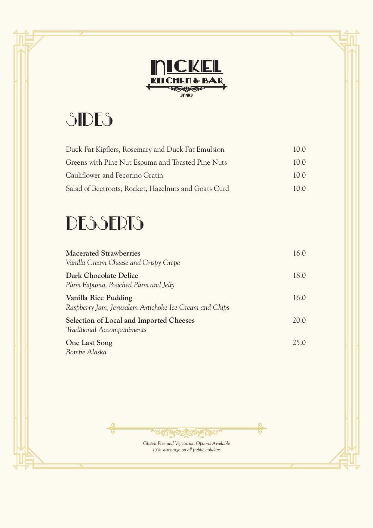 Menu at Nickel Kitchen & Bar, Fortitude Valley
