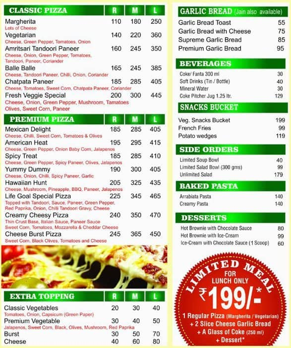 Neopolitan Pizza Menu Menu For Neopolitan Pizza Vasai Mumbai Zomato