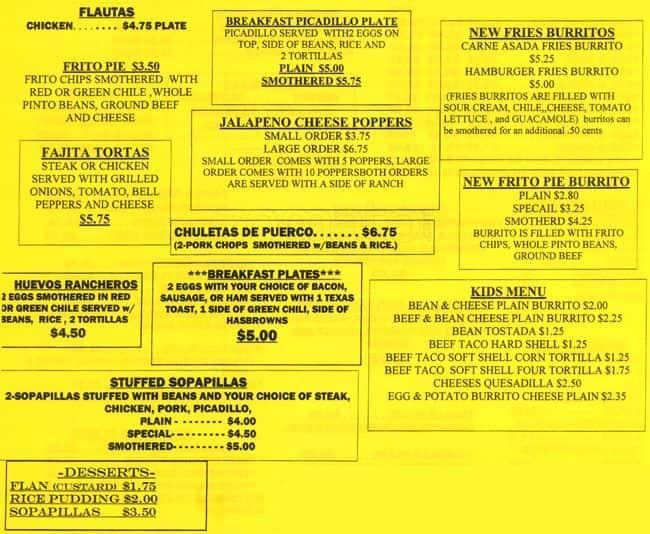 Menu At Tamale Kitchen Restaurant Lakewood W Mississippi Ave