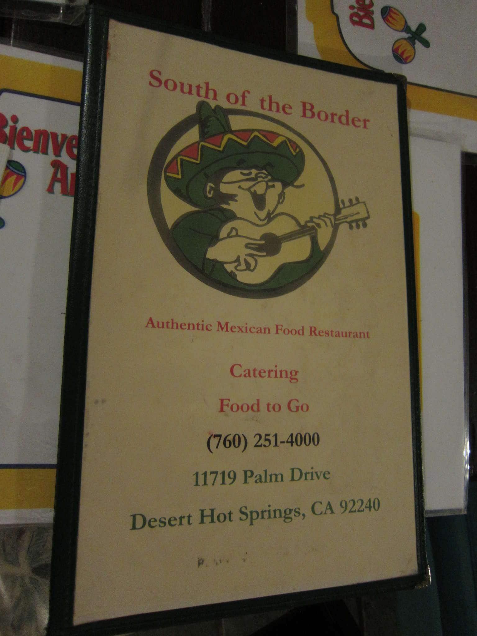 South Of The Border Menu Menu For South Of The Border