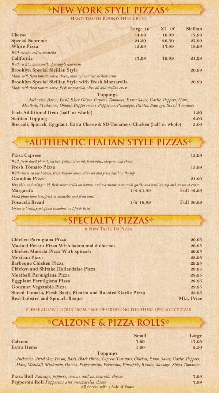 Menu At Pizza Time Caffe Pizzeria Parkland Parkside Dr
