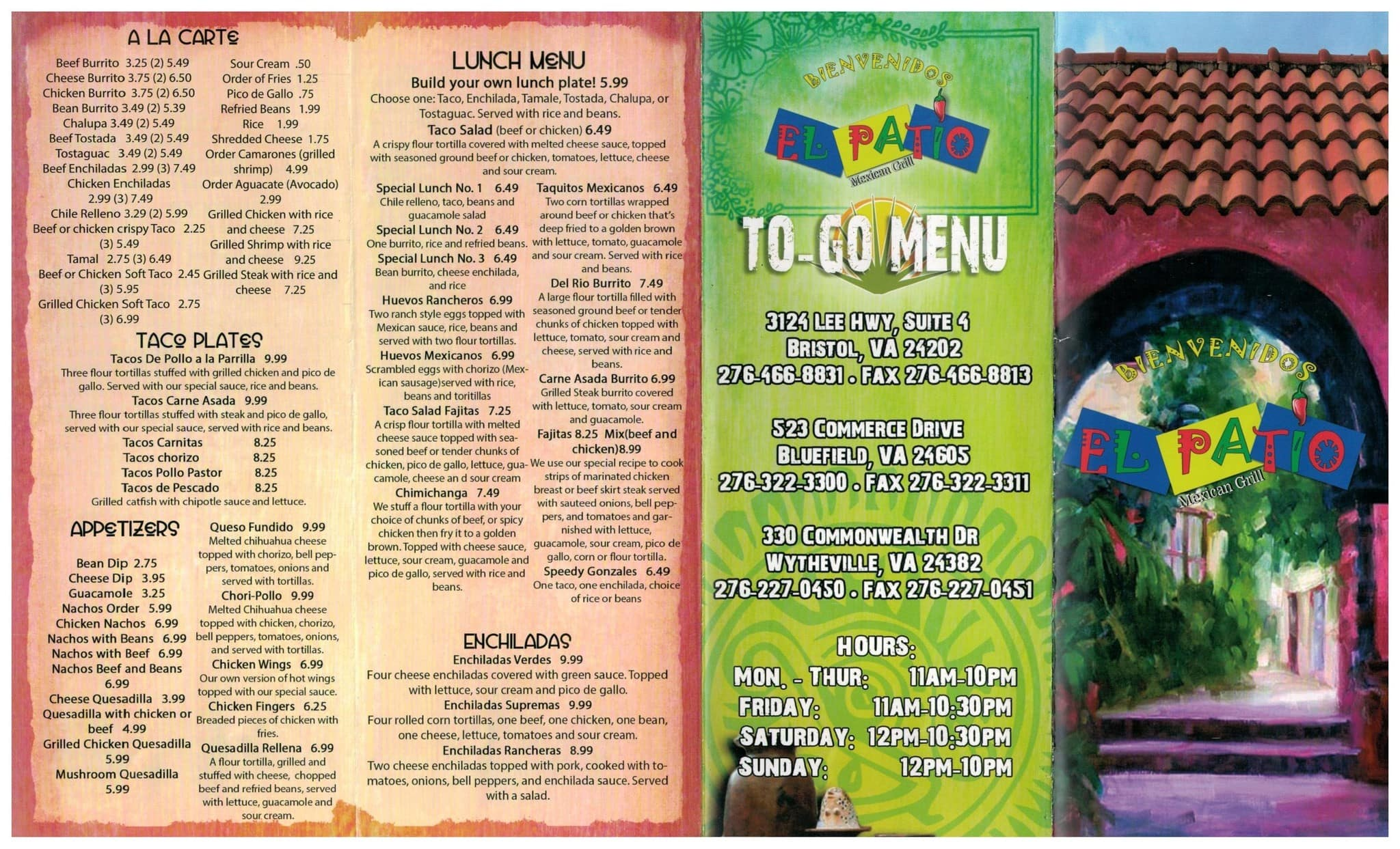 El Patio Mexican Grill Menu, Menu for El Patio Mexican Grill ...
