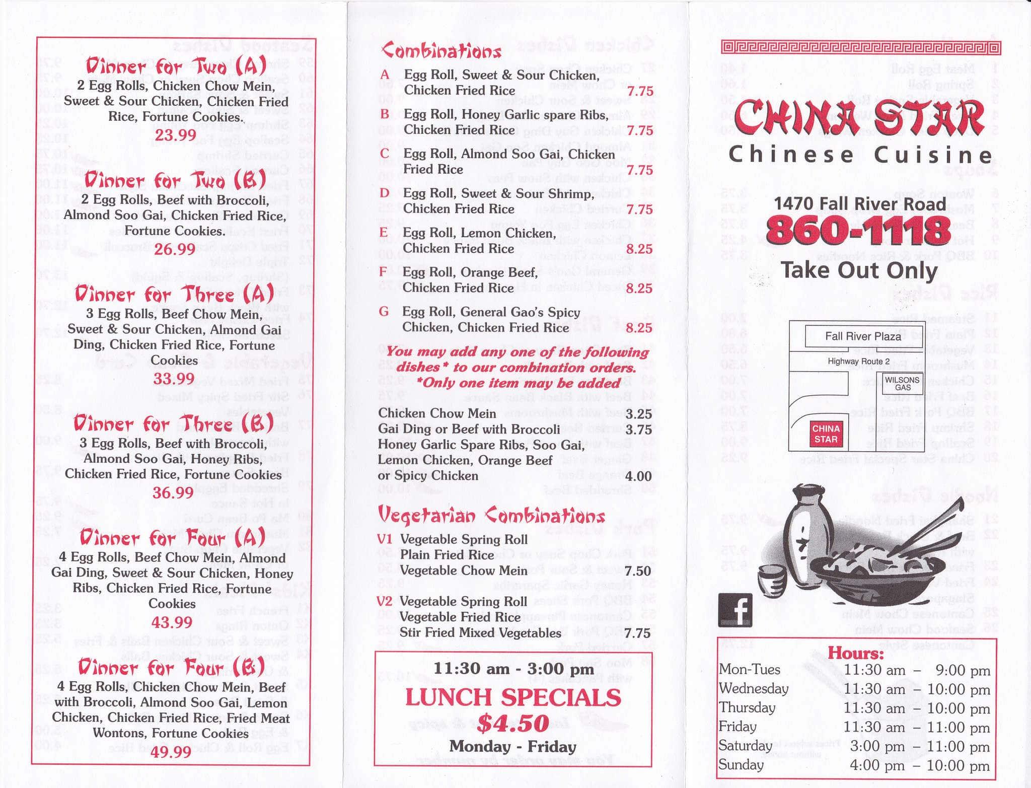 Menu at China Star restaurant, Fall River