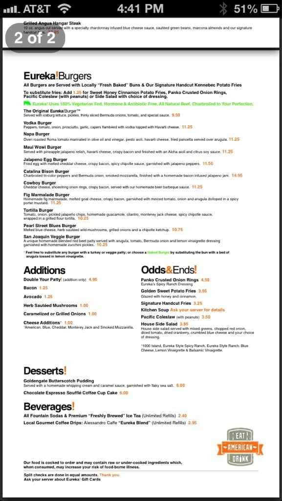 Menu at Eureka Tasting Kitchen, 12101 S Crenshaw Blvd - Restaurant ...