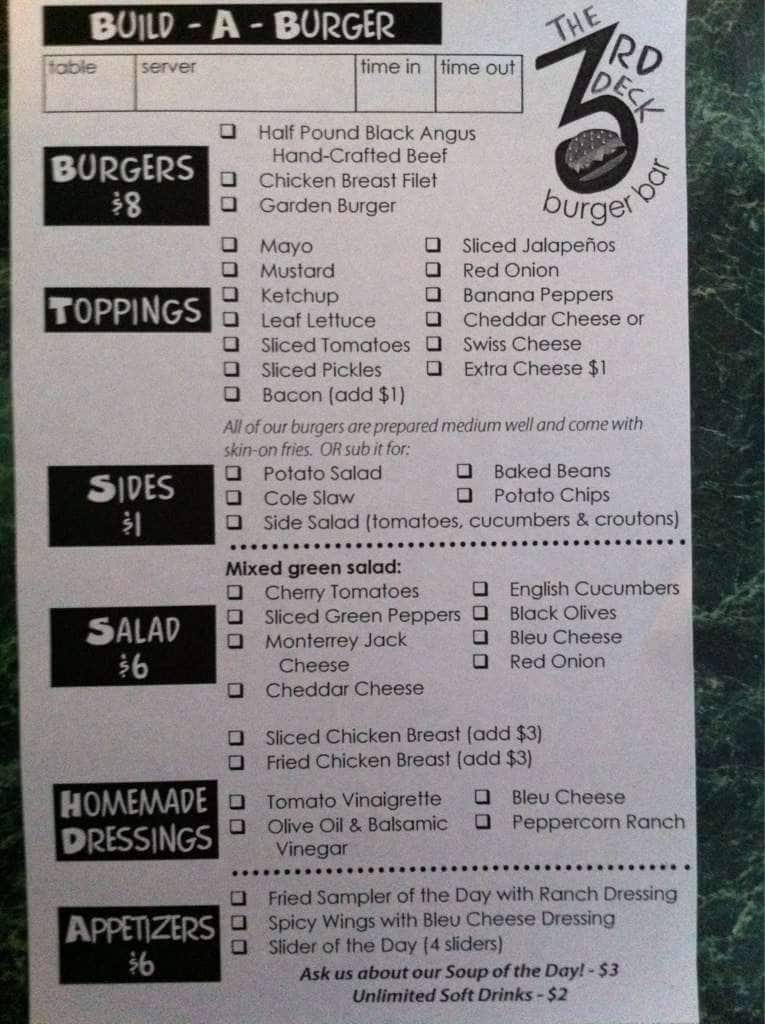 The 3rd Deck Burger Bar Menu, Menu for The 3rd Deck Burger ...
