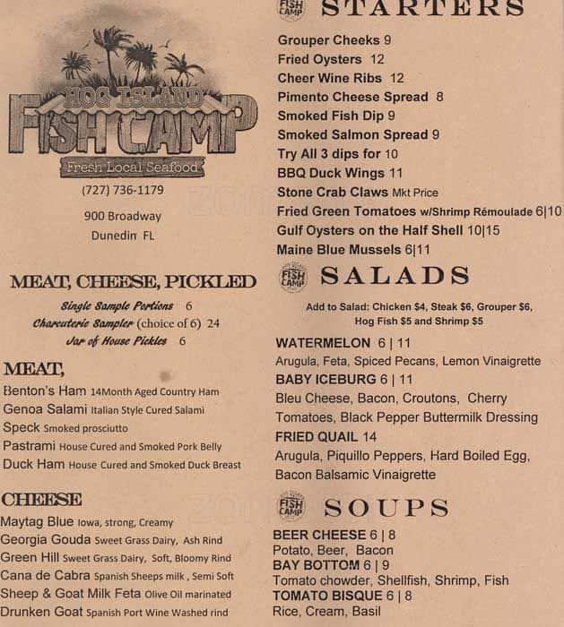 Menu at hog island fish camp restaurant dunedin for Fish camp menu
