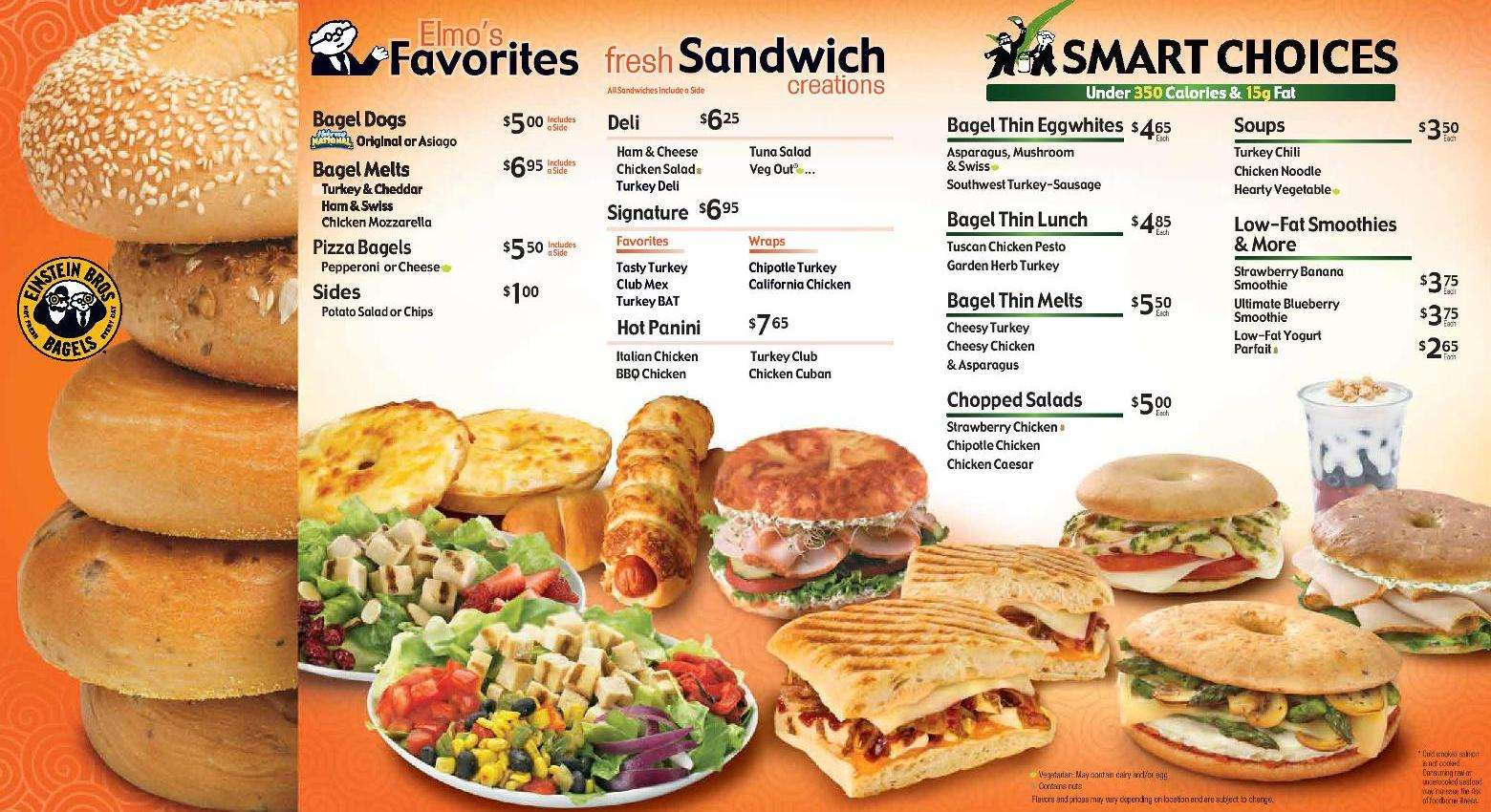 einstein bros bagels menu, menu for einstein bros bagels, miami