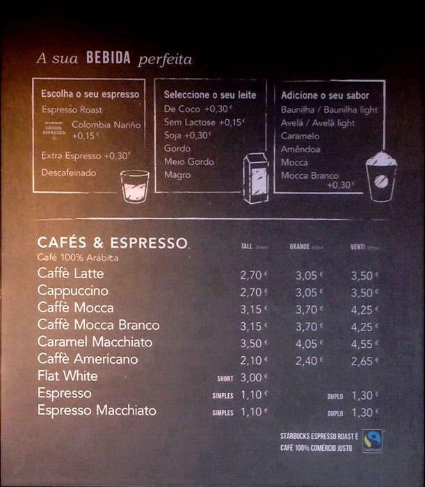 Starbucks Cafe Menu