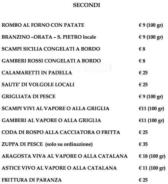 Menu at Assunta Madre restaurant, Rome