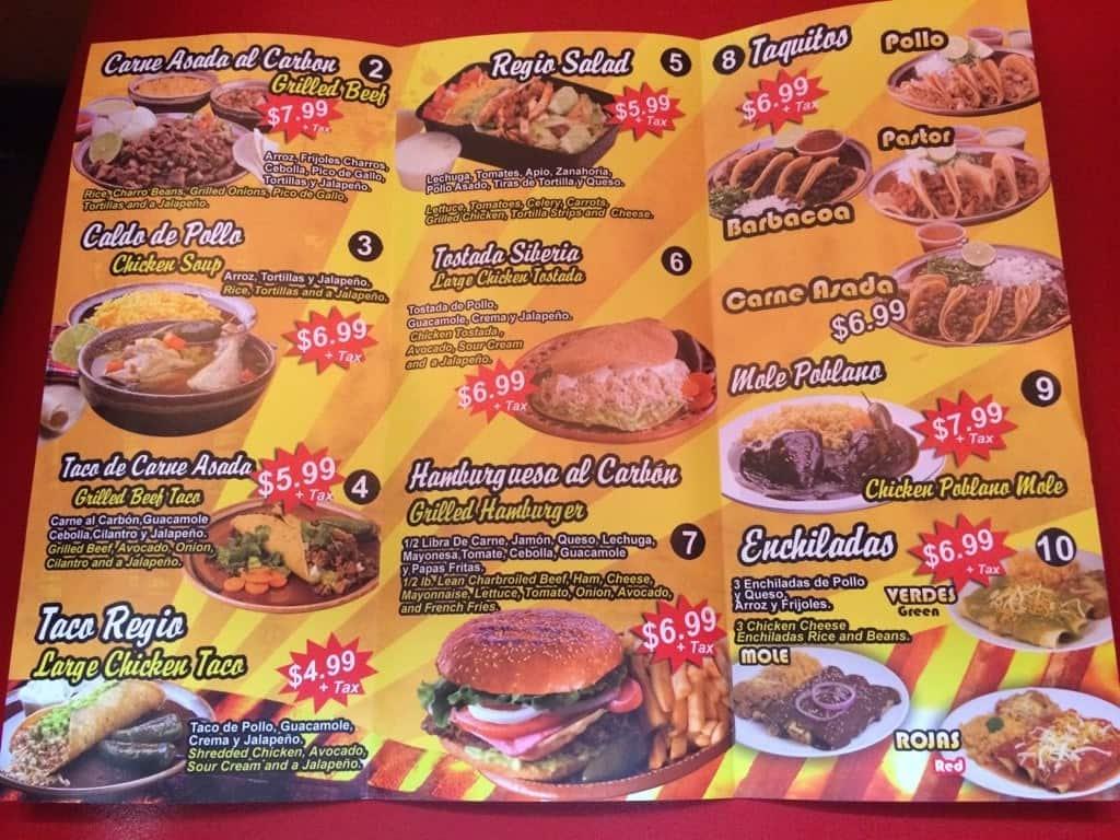 El Regio Restaurant Menu