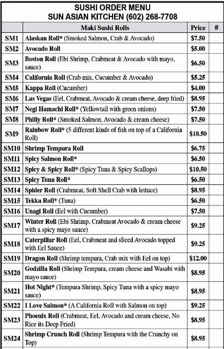 the restaurant information including the sun asian kitchen menu items and prices may have been modified since the last website update - Sun Asian Kitchen