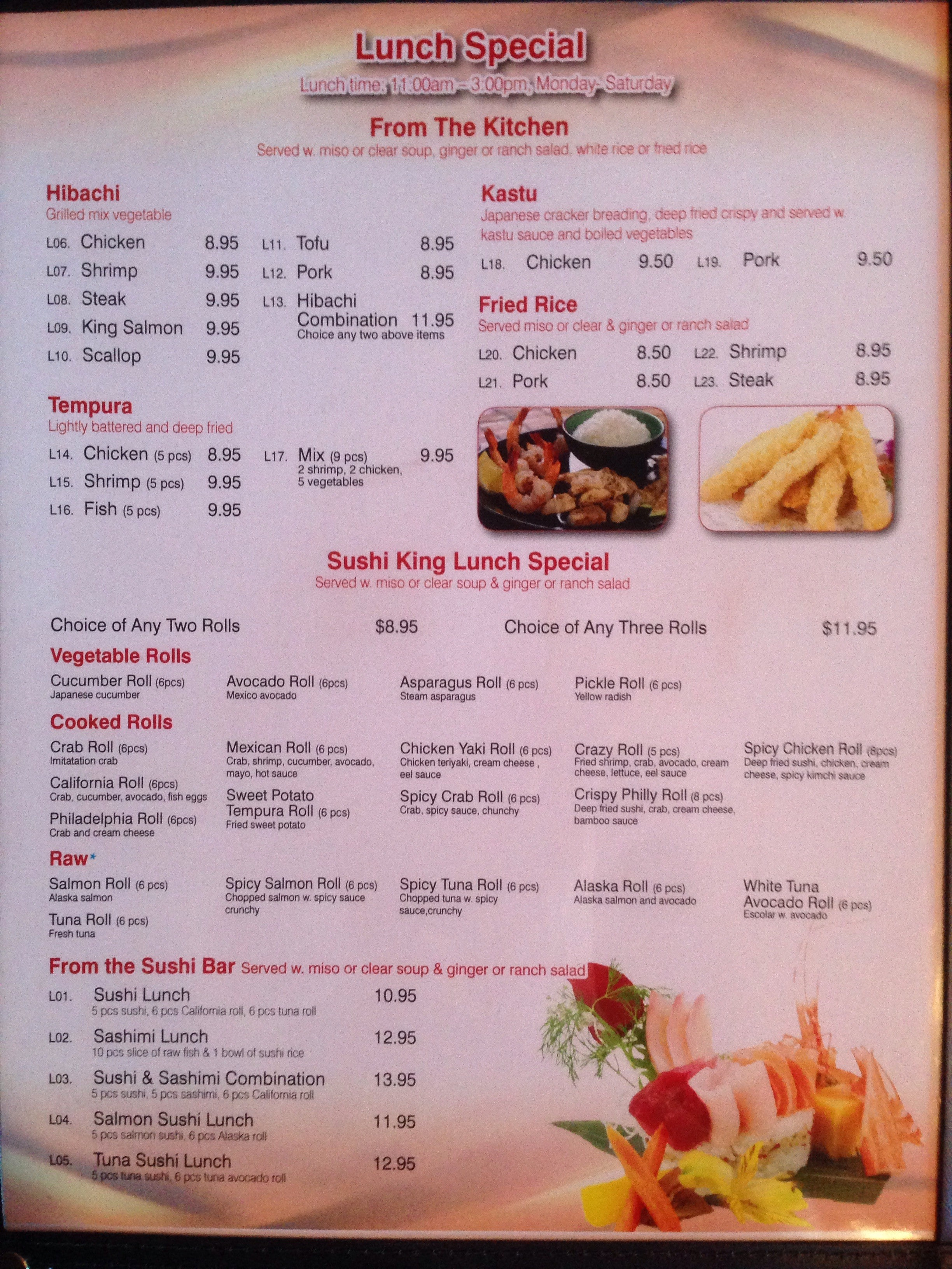 Menu At Sushi King Restaurant Fruit Cove