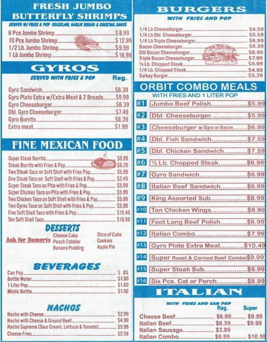Orbit steak fish chicken menu urbanspoon zomato for Chicago fish and chicken menu