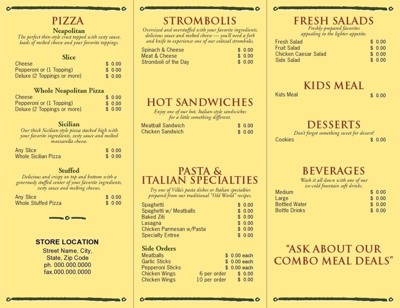 Menu at Villa Fresh Italian Kitchen Sp 211 Restaurant prices