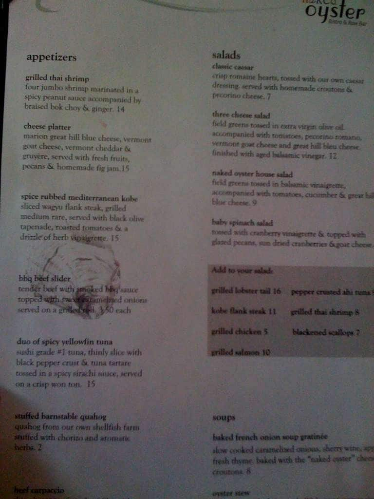 menu menu for the naked oyster hyannis cape cod urbanspoon zomato